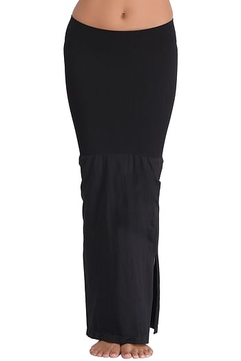 Front listing image for Saree Shapewear in Black with Side Slit