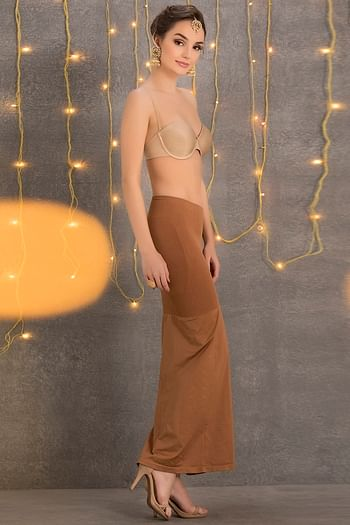 Back listing image for Saree Shapewear in Brown with Side Slit