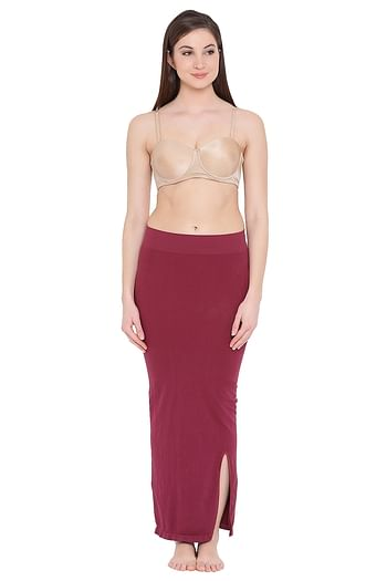 Front listing image for Saree Shapewear in Maroon with Side Slit
