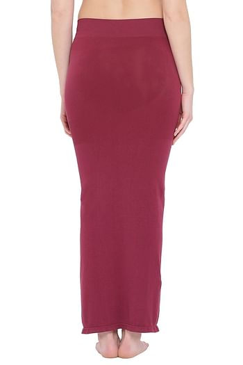 Back listing image for Saree Shapewear in Maroon with Side Slit