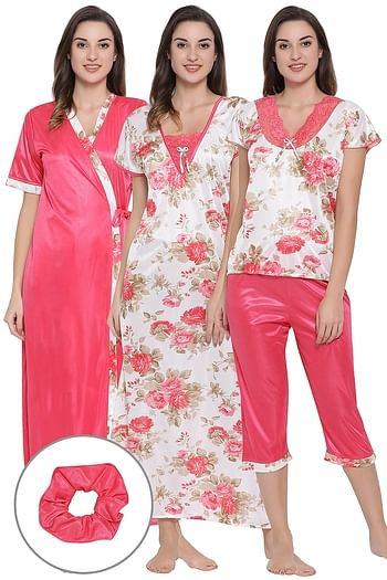 Front listing image for 5 Pc Nightwear Set in Pink- Satin