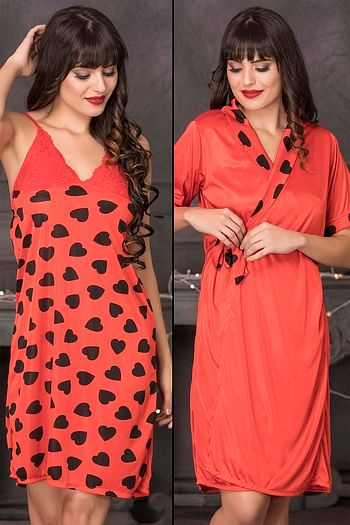 Front listing image for Heart Print Short Night Dress & Robe Set in Red - Satin