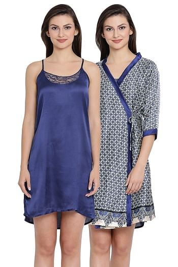 Back listing image for Satin Short Night Dress with Printed Full Sleeves Robe In Blue