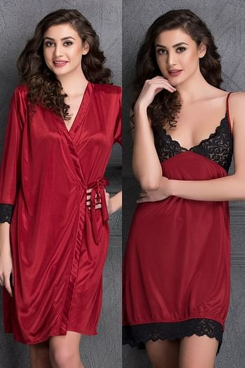 Front listing image for Nightdress & Full Sleeves Robe Set in Maroon- Satin