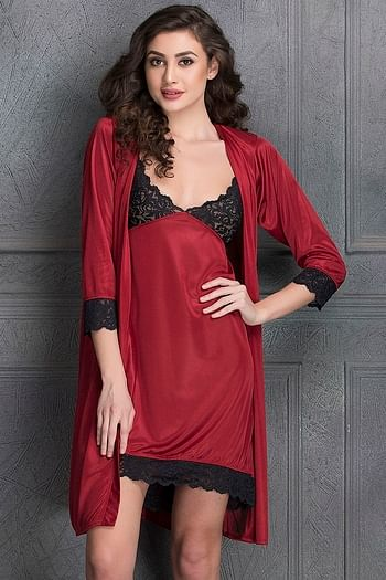 Back listing image for Nightdress & Full Sleeves Robe Set in Maroon- Satin