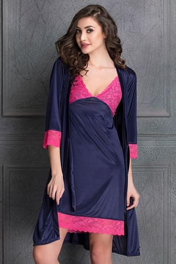 Back listing image for Short Nighty & Robe Set in Navy Blue- Satin