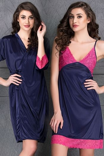 Front listing image for Short Nighty & Robe Set in Navy Blue- Satin