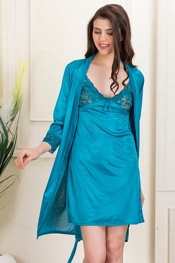 Back listing image for Satin Short Night Dress & Full Sleeves Robe in Teal Green