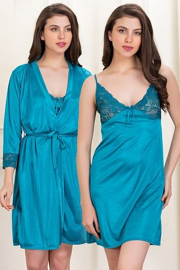 Front listing image for Satin Short Night Dress & Full Sleeves Robe in Teal Green