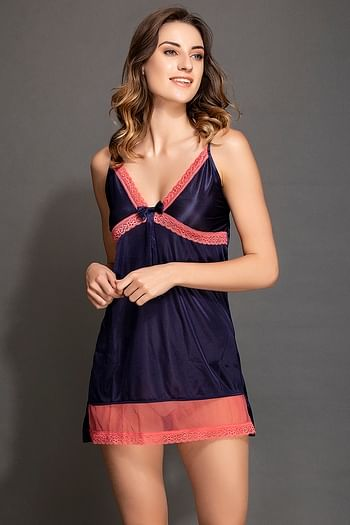 Front listing image for Short Night Dress in Navy with Hot Pink Lace