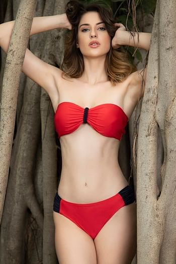 Front listing image for Padded Bandeau Bra & Bikini Swimsuit In Red