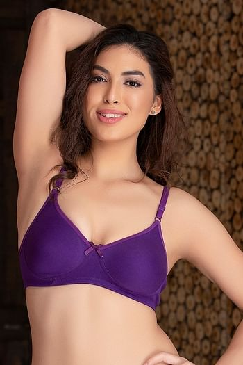 Front listing image for Non-padded Wirefree T-shirt Bra In Purple - Cotton Rich