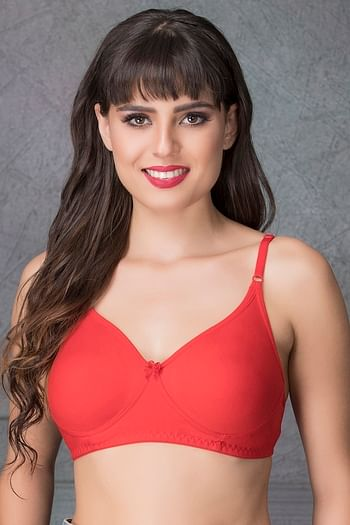 Front listing image for Non-Padded Wirefree T-shirt Bra In Red - Cotton Rich