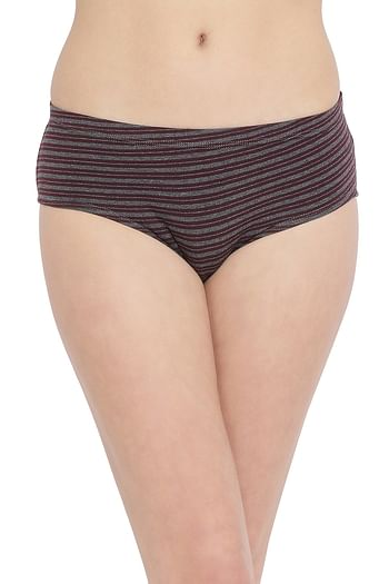 Front listing image for Striped Mid Waist Hipster Panty with Inner Elastic in Dark Grey - Cotton
