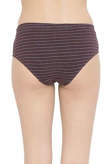 Back listing image for Striped Mid Waist Hipster Panty with Inner Elastic in Dark Grey - Cotton