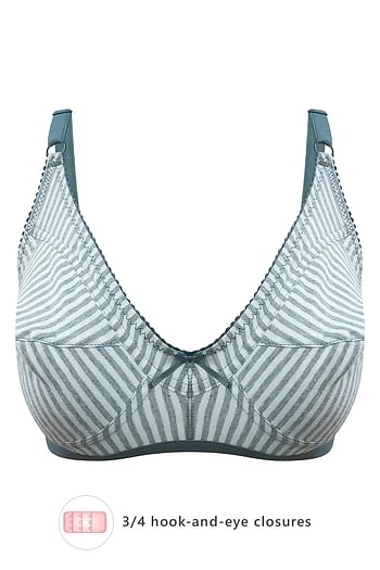 Front listing image for Striped Non-Padded Non-Wired Bra in Dark Grey - Cotton Rich