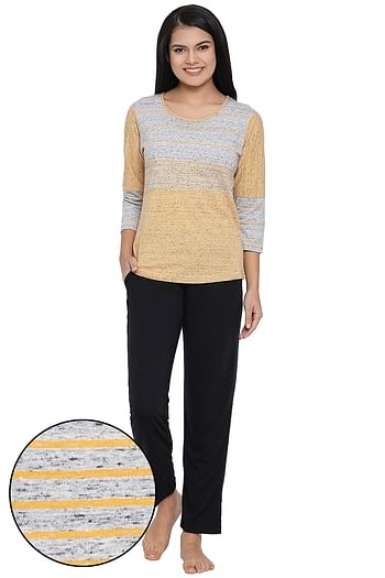 Front listing image for Striped Top & Pyjama Set in Yellow & Black - Cotton Rich