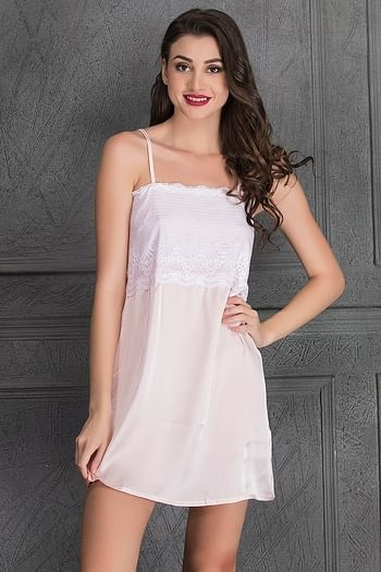 Front listing image for Sultry Satin Baby Pink and White Nightslip