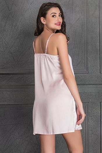 Back listing image for Sultry Satin Baby Pink and White Nightslip