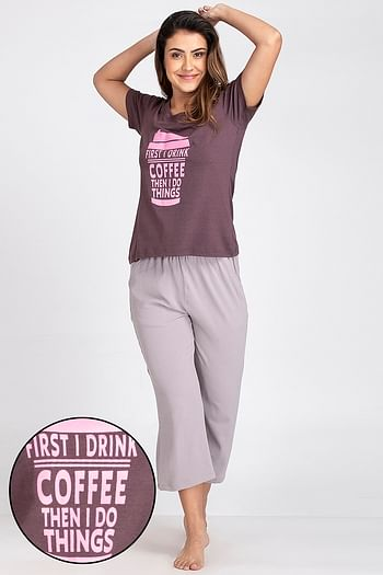 Front listing image for Text Print Top & Capri Set in Dark Purple & Grey - Cotton Rich