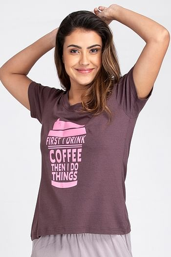 Front listing image for Text Print Top in Dark Purple - Cotton Rich