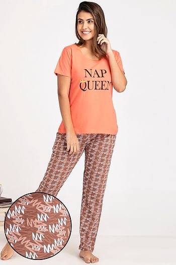 Front listing image for Text Print Top & Printed Pyjama in Dark Pink - 100% Cotton