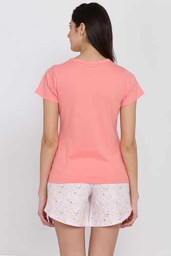Back listing image for Text Print Top & Printed Shorts Set in Peach & White - Cotton Rich