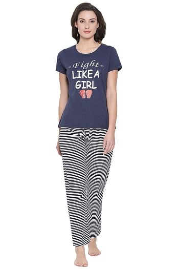 Front listing image for Text Print Top & Pyjama Set in Dark Blue - Cotton Rich