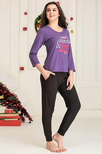 Back listing image for Text Print Top & Pyjama Set in Dark Purple - Cotton Rich