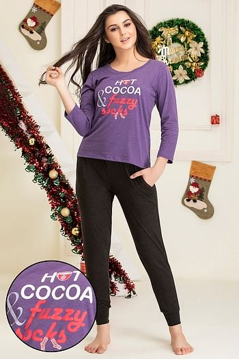 Front listing image for Text Print Top & Pyjama Set in Dark Purple - Cotton Rich