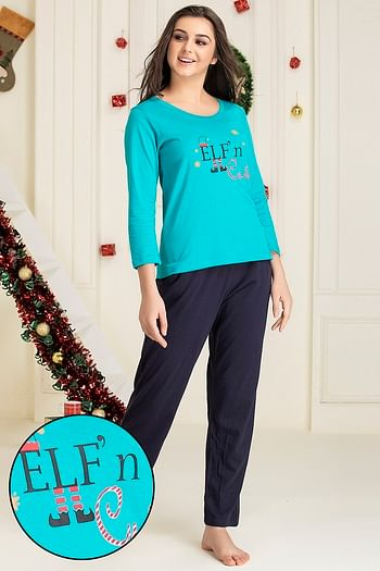 Front listing image for Text Print Top & Pyjama Set in Teal Green & Navy Blue - Cotton