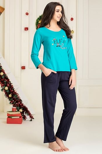Back listing image for Text Print Top & Pyjama Set in Teal Green & Navy Blue - Cotton