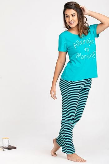 Back listing image for Text Print Top & Striped Pyjama Set in Dark Green - Cotton Rich
