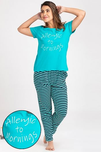 Front listing image for Text Print Top & Striped Pyjama Set in Dark Green - Cotton Rich