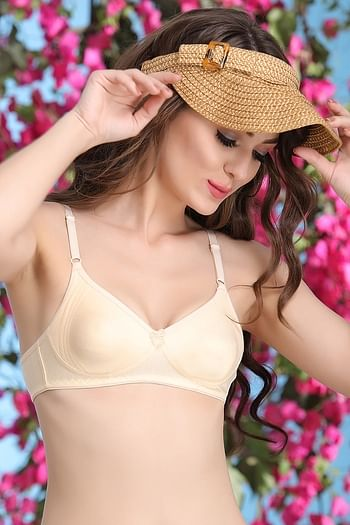 Back listing image for Cotton Non-Padded Wirefree T-shirt Bra With Moulded cups - Nude